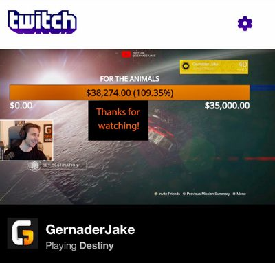 GernaderJake shows his final amount of money raised on Twitch while playing the video game Destiny