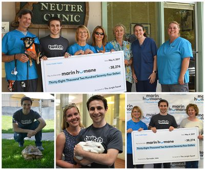 GernaderJake visits Marin Humane to present a check for more than $38000